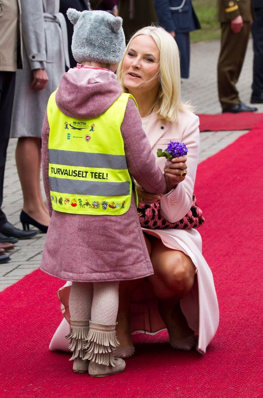 La princesse Mette-Marit de Norvège à Tallinn, le 25 avril 2018