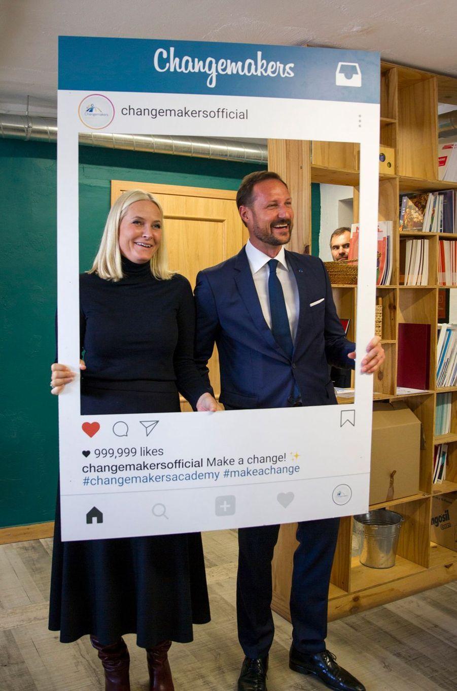 La princesse Mette-Marit et le prince Haakon de Norvège à Tallinn, le 26 avril 2018