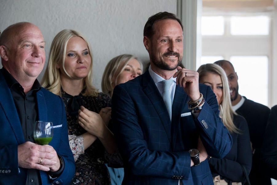 La princesse Mette-Marit et le prince Haakon de Norvège à Skaugum, le 2 mars 2017
