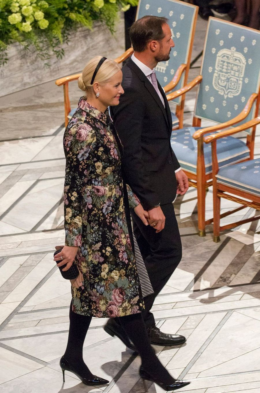 La princesse Mette-Marit et le prince Haakon de Norvège à Oslo, le 10 décembre 2017