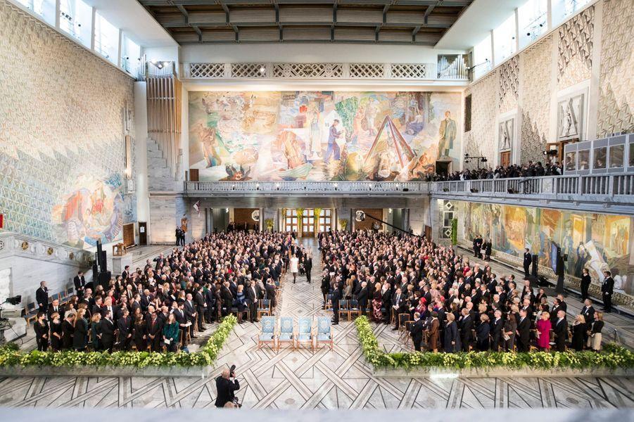 La famille royale de Norvège arrive pour la cérémise du prix Nobel de la paix à Oslo, le 10 décembre 2017