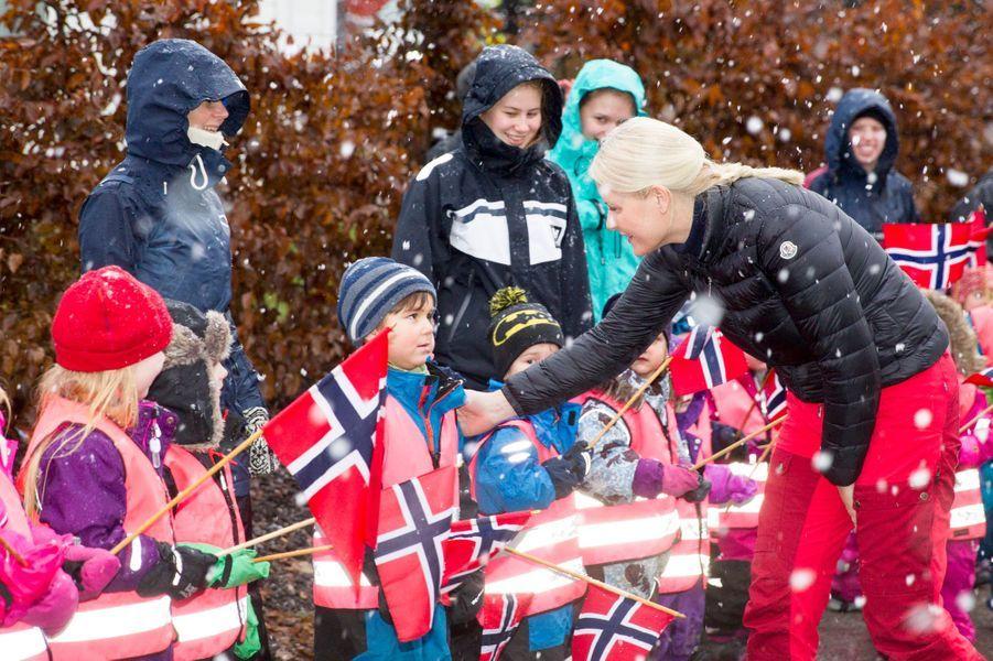La princesse Mette-Marit de Norvège dans la commune de Ski, le 11 janvier 2017