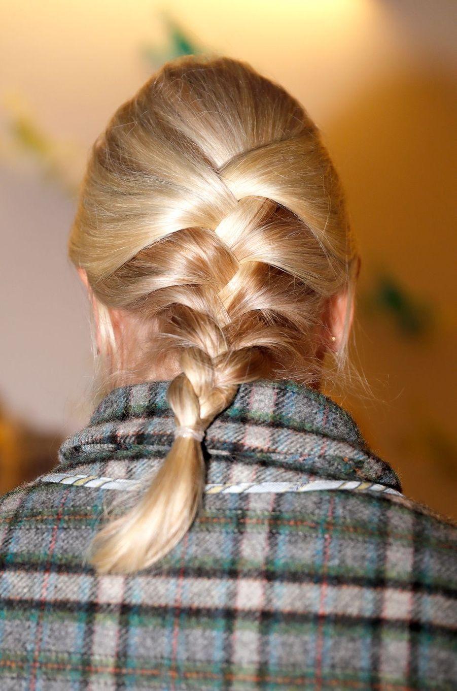 La coiffure de la princesse Mette-Marit de Norvège à Baerum, le 14 décembre 2016