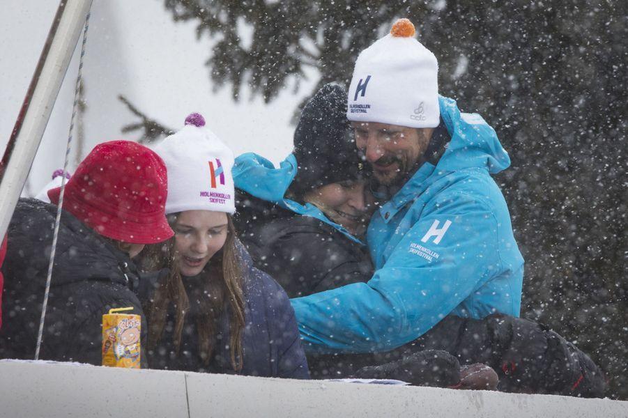La reine Sonja, les princesses Mette-Marit et Ingrid Alexandra, et le prince Haakon de Norvège à Oslo, le 11 mars 2018