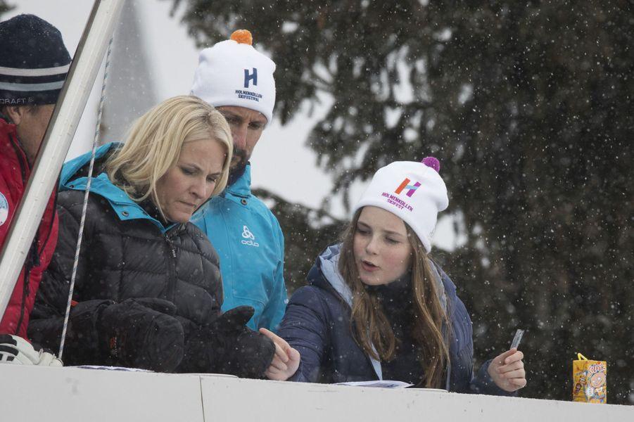 Les princesses Mette-Marit et Ingrid Alexandra et le prince Haakon de Norvège à Oslo, le 11 mars 2018