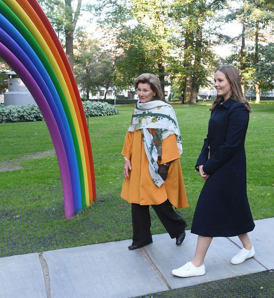 La princesse Ingrid Alexandra avec la reine Sonja de Norvège à Oslo, le 17 septembre 2019