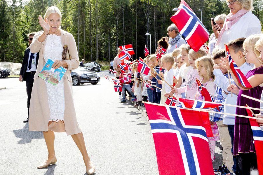 La princesse Mette-Marit de Norvège à Fredrikstad, le 29 août 2017