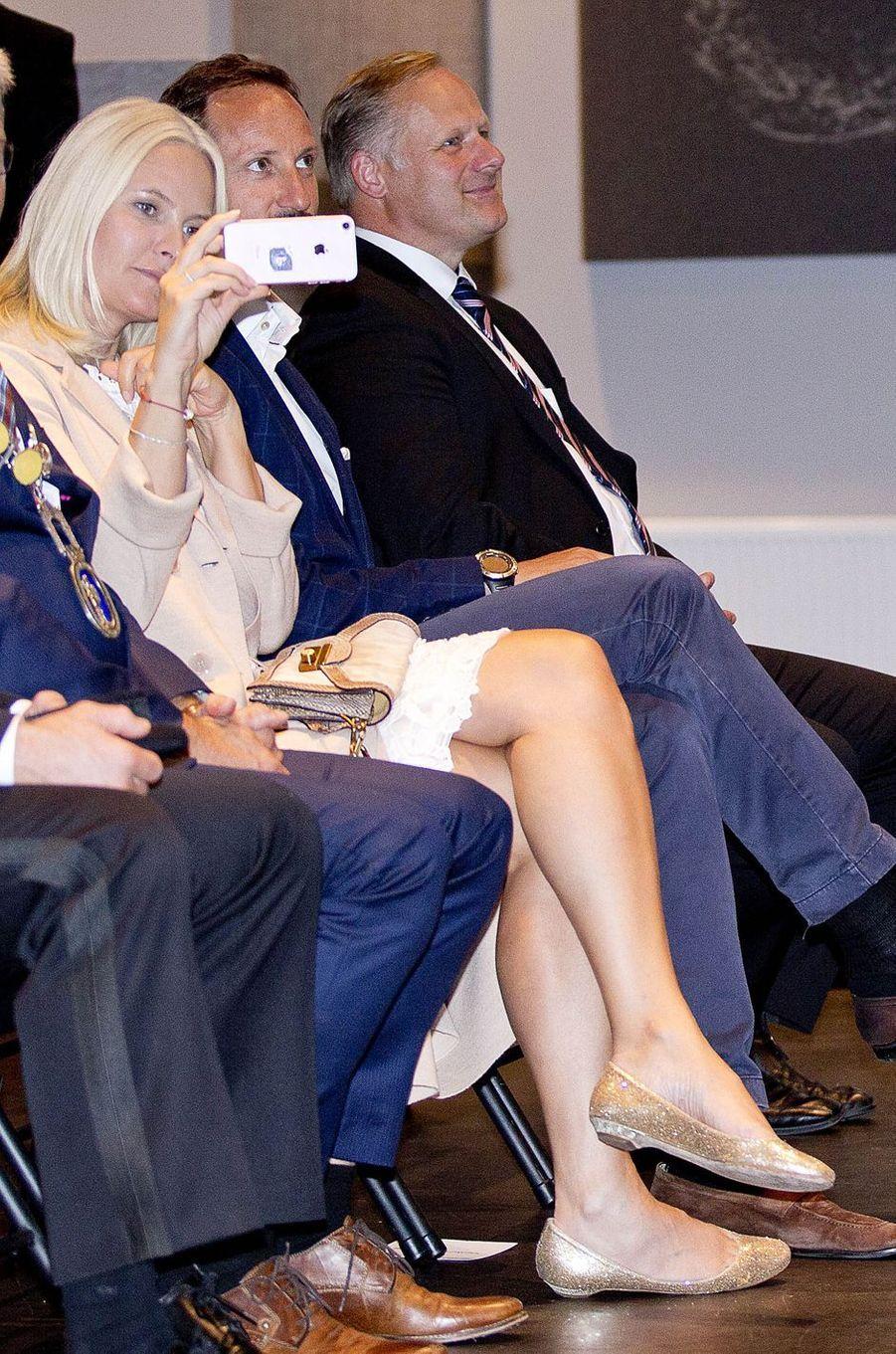 La princesse Mette-Marit et le prince Haakon de Norvège à Halden, le 29 août 2017