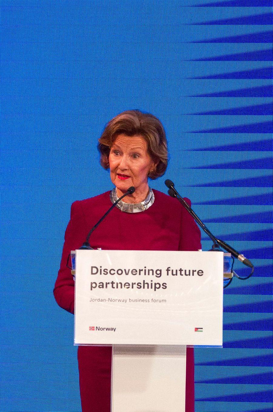 La reine Sonja de Norvège à Amman, le 2 mars 2020