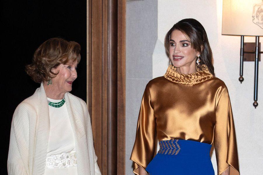 La reine Sonja de Norvège avec la reine Rania de Jordanie à Amman, le 2 mars 2020
