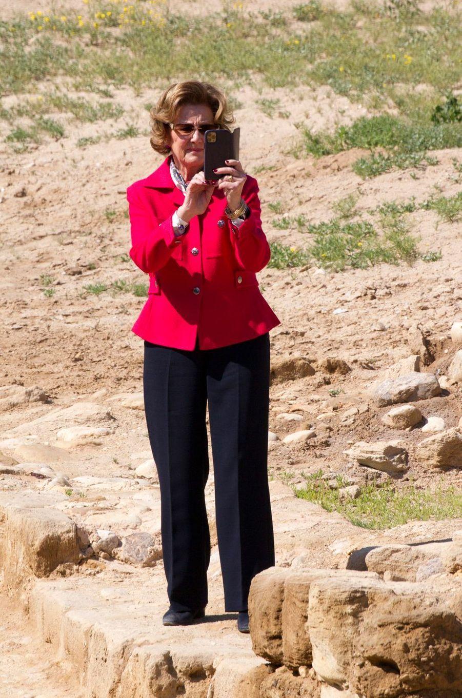 La reine Sonja de Norvège à Béthanie au-delà du Jourdain, le 3 mars 2020