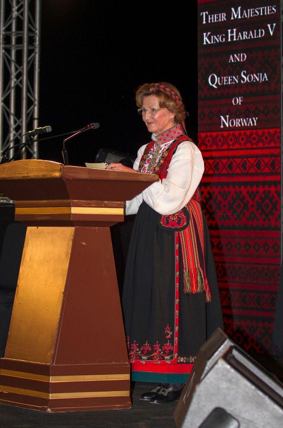 La reine Sonja de Norvège dans un hôtel des rives de la Mer morte, le 3 mars 2020