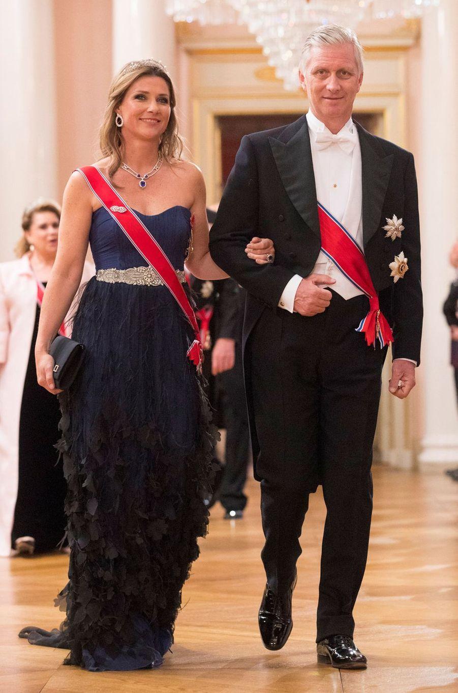 La princesse Märtha-Louise de Norvège et le roi Philippe de Belgique à Oslo, le 9 mai 2017