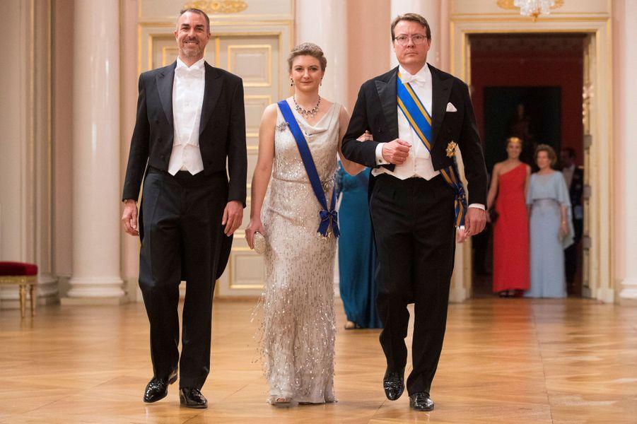 La princesse Stéphanie de Luxembourg avec les princes Nikolaos de Grèce et Constantijn des Pays-Bas, à Oslo, le 9 mai 2017