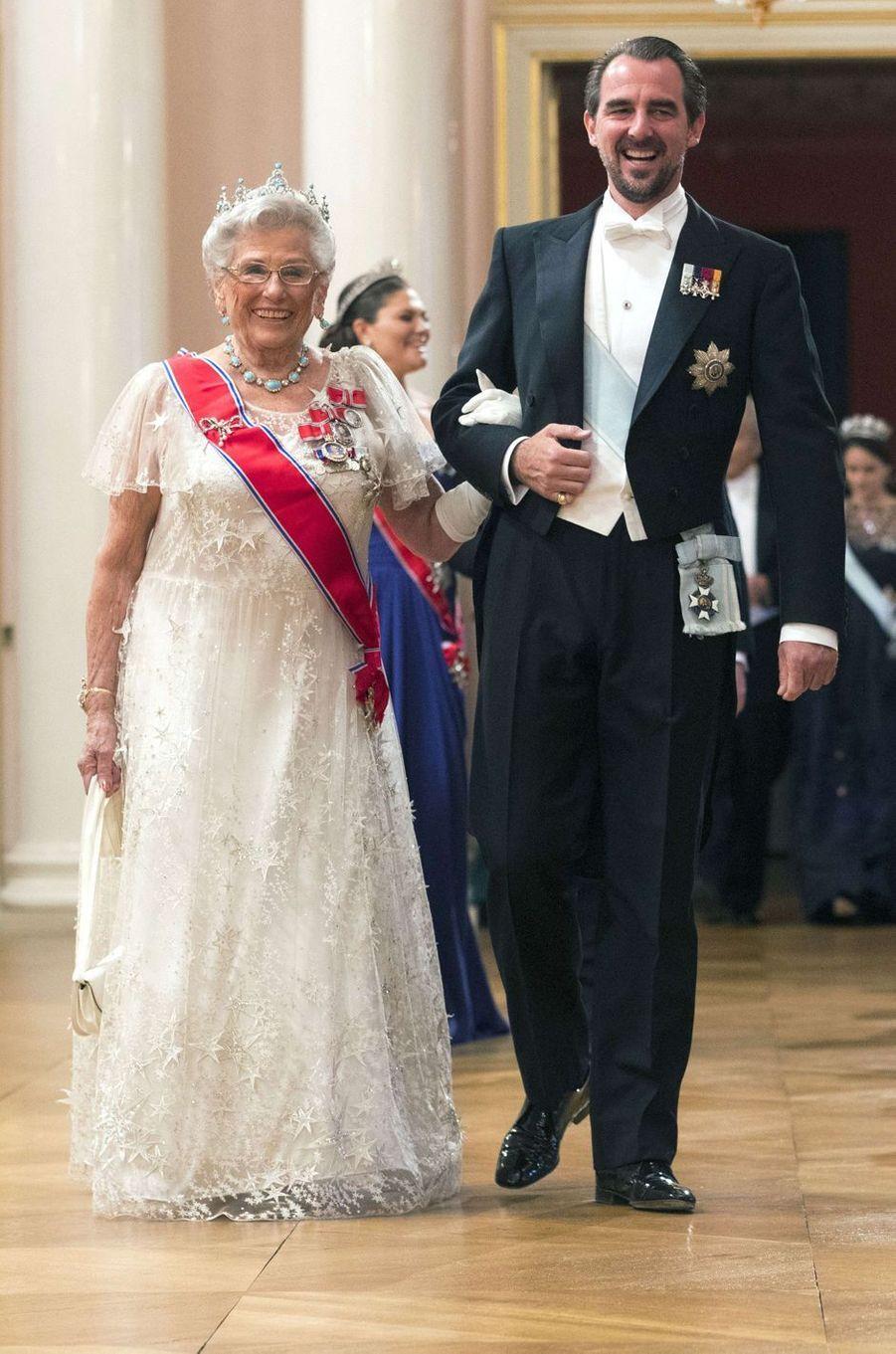 La princesse Astrid de Norvège avec le prince Pavlos de Grèce à Oslo, le 9 mai 2017