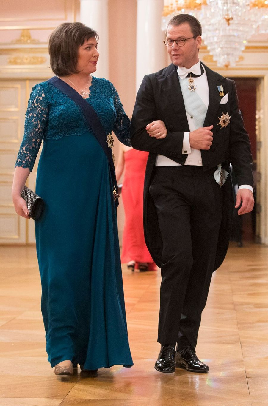 Le prince consort Daniel de Suède avec Eliza Reid, la First Lady islandaise, à Oslo, le 9 mai 2017