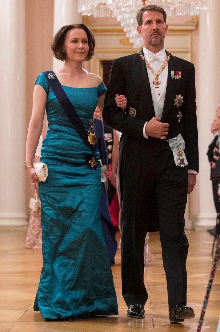 Le prince Pavlos de Grèce avec Jenni Haukio, la First Lady finlandaise, à Oslo, le 9 mai 2017