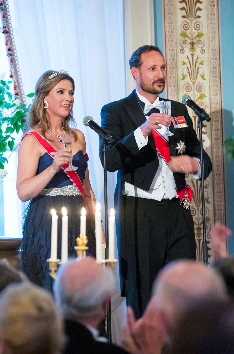 La princesse Märtha-Louise et le prince Haakon de Norvège à Oslo, le 9 mai 2017