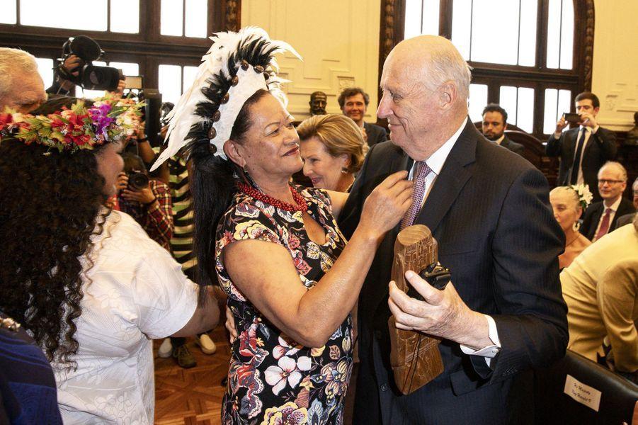 La roi Harald V de Norvège à Santiago, le 28 mars 2019