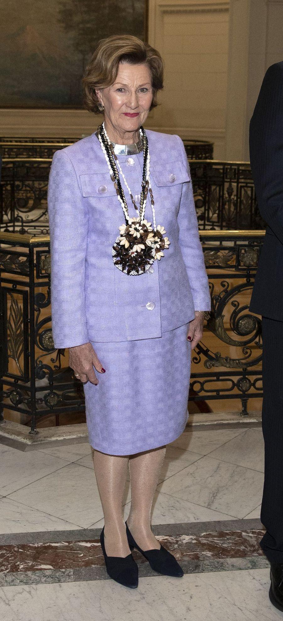 La reine Sonja de Norvège à Santiago, le 28 mars 2019