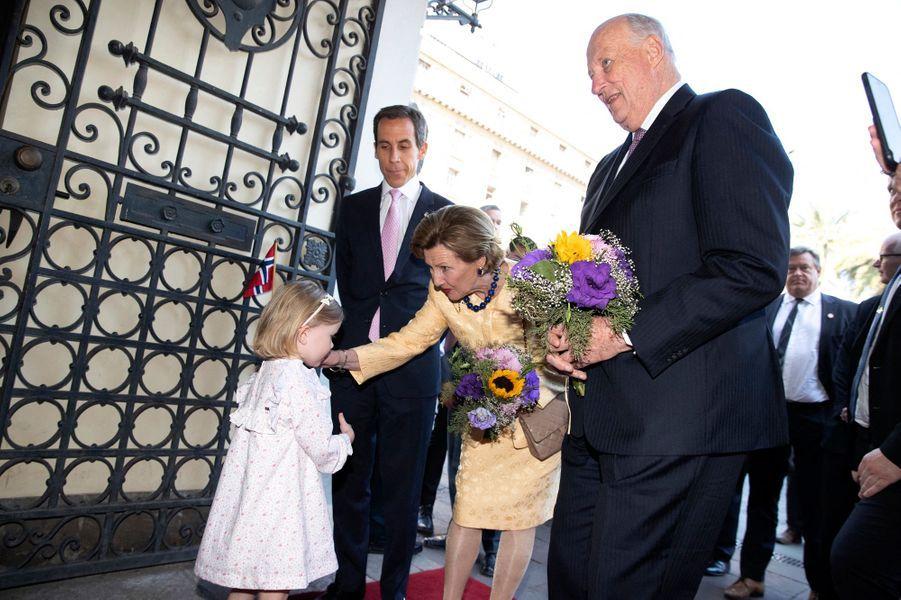 La reine Sonja et le roi Harald V de Norvège à Santiago, le 28 mars 2019