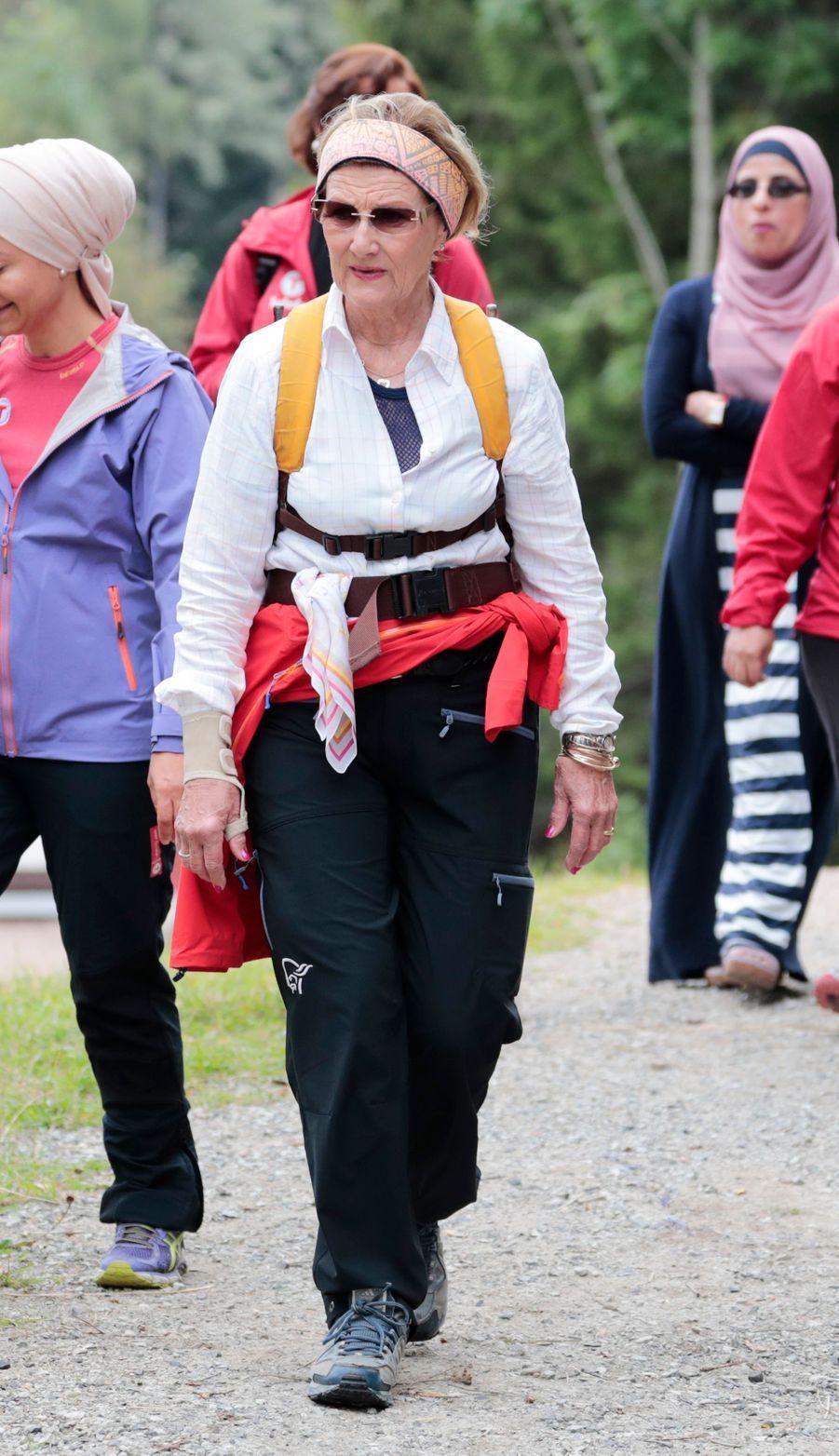 La reine Sonja de Norvège à Drammen le 24 août 2017