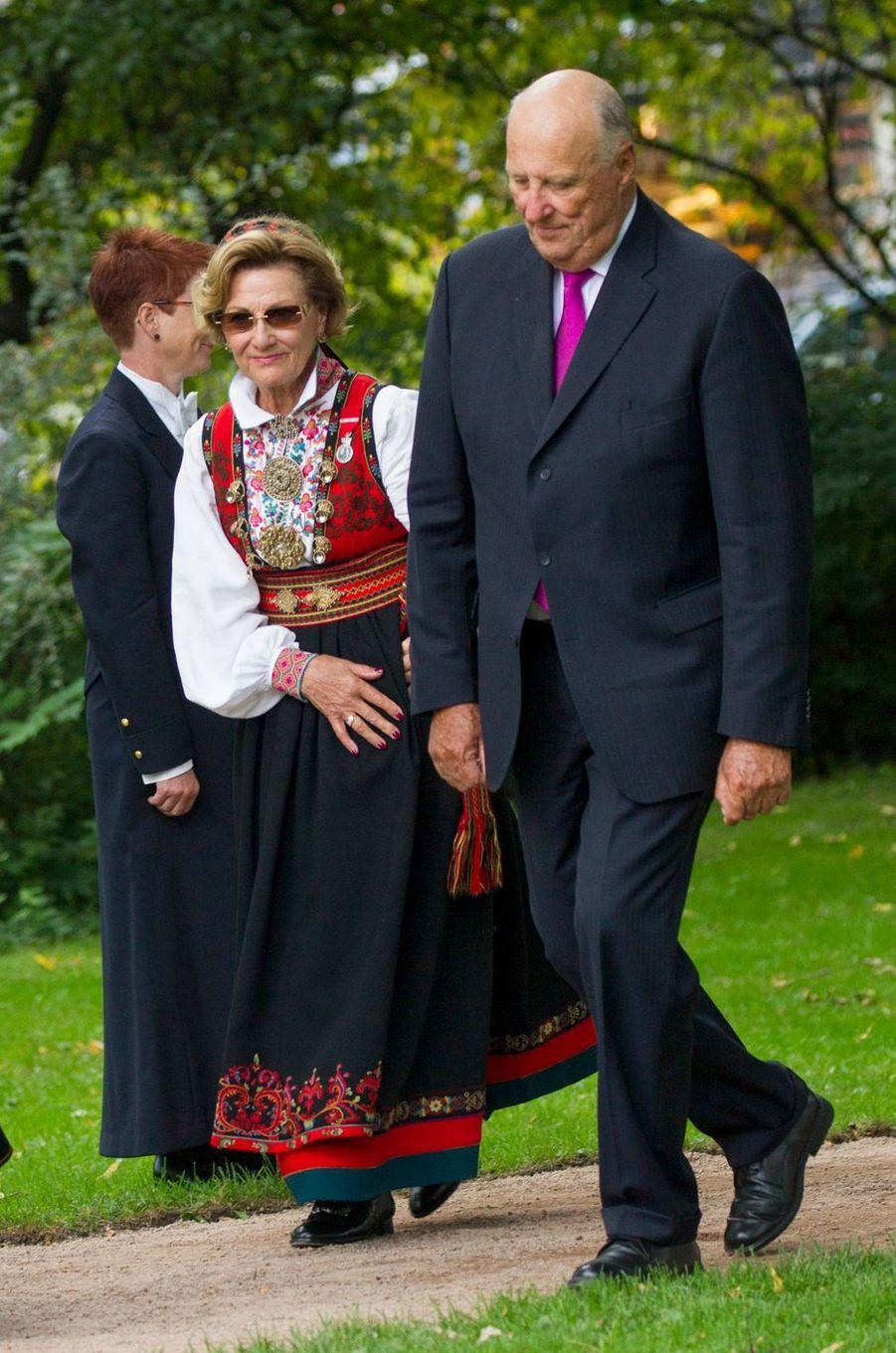 La reine Sonja et le roi Harald V de Norvège à Oslo, le 1er septembre 2016