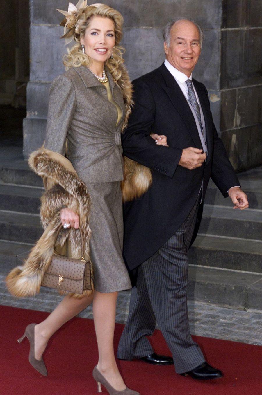 L'Aga Khan et son épouse la Begum Gabriele au mariage du prince Willem-Alexander des Pays-Bas etde Maxima Zorreguieta à Amsterdam, le 2 février 2002