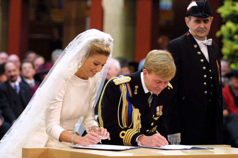 Maxima Zorreguieta et le prince Willem-Alexander des Pays-Bas à Amsterdam, le 2 février 2002