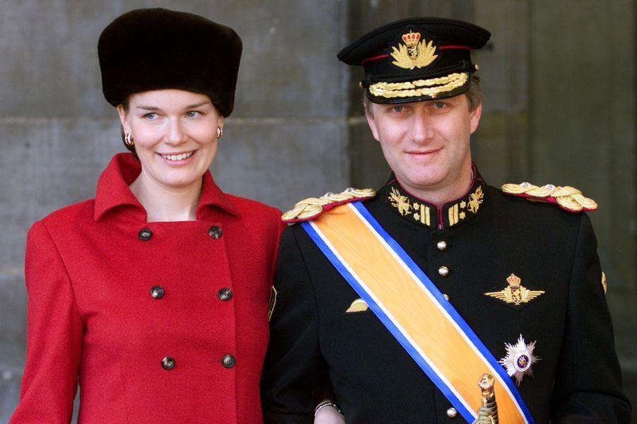 La princesse Mathilde et le prince Philippe de Belgique au mariage du prince Willem-Alexander des Pays-Bas etde Maxima Zorreguieta à Amsterdam, le 2 février 2002
