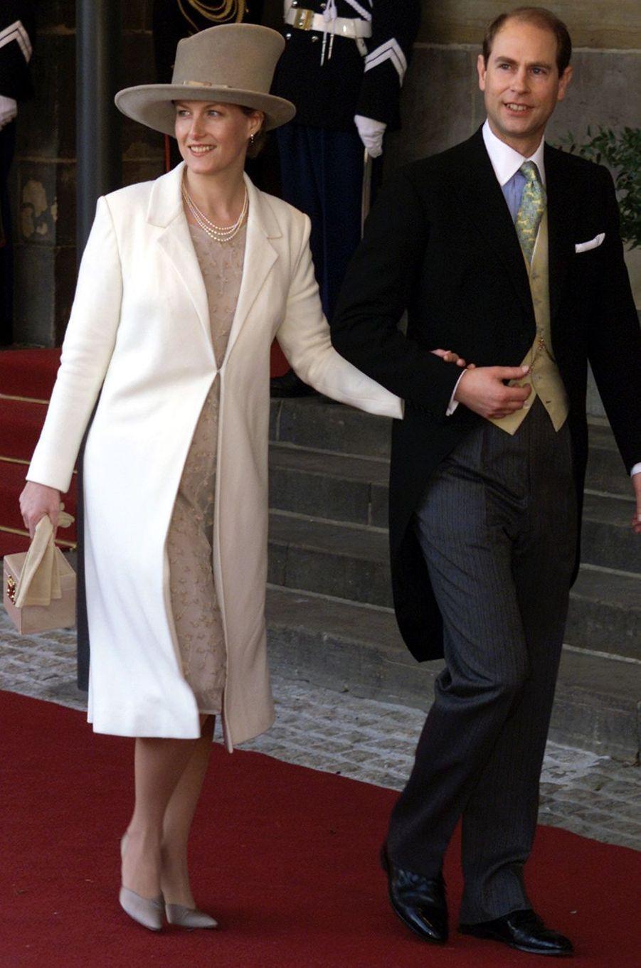 La comtesse Sophie de Wessex et le prince Edward au mariage du prince Willem-Alexander des Pays-Bas etde Maxima Zorreguieta à Amsterdam, le 2 février 2002