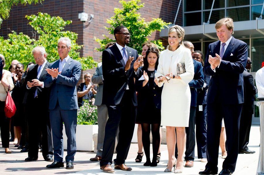 La reine Maxima et le roi Willem-Alexander au Gwendolyn Brooks Preparatory College à Chicago, le 3 juin 2015