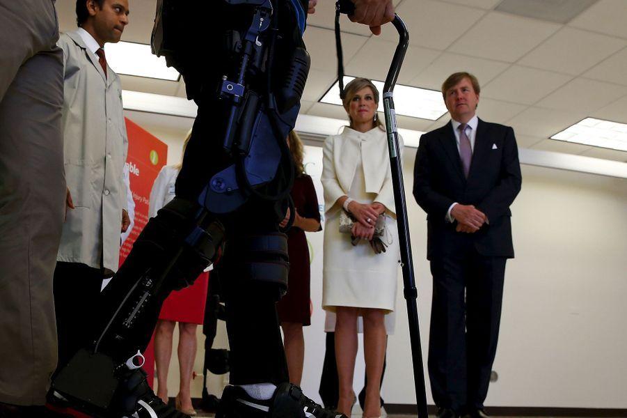 La reine Maxima et le roi Willem-Alexander des Pays-Bas au Rehabilitation Institute de Chicago, le 3 juin 2015