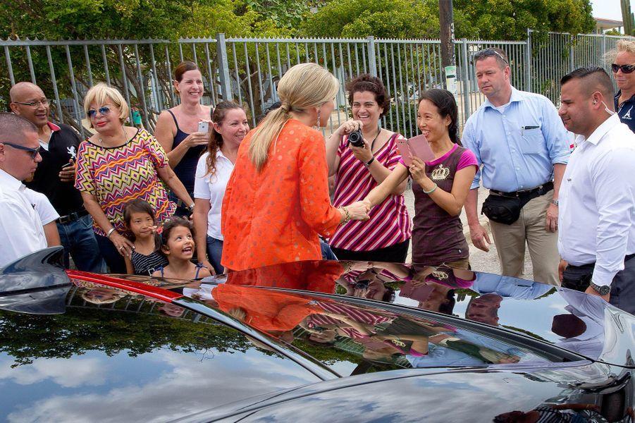 La reine Maxima des Pays-Bas à Aruba, le 2 mai 2015