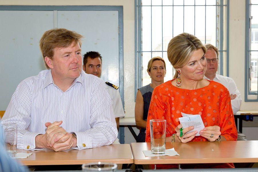 La reine Maxima et le roi Willem-Alexander des Pays-Bas à Aruba, le 2 mai 2015