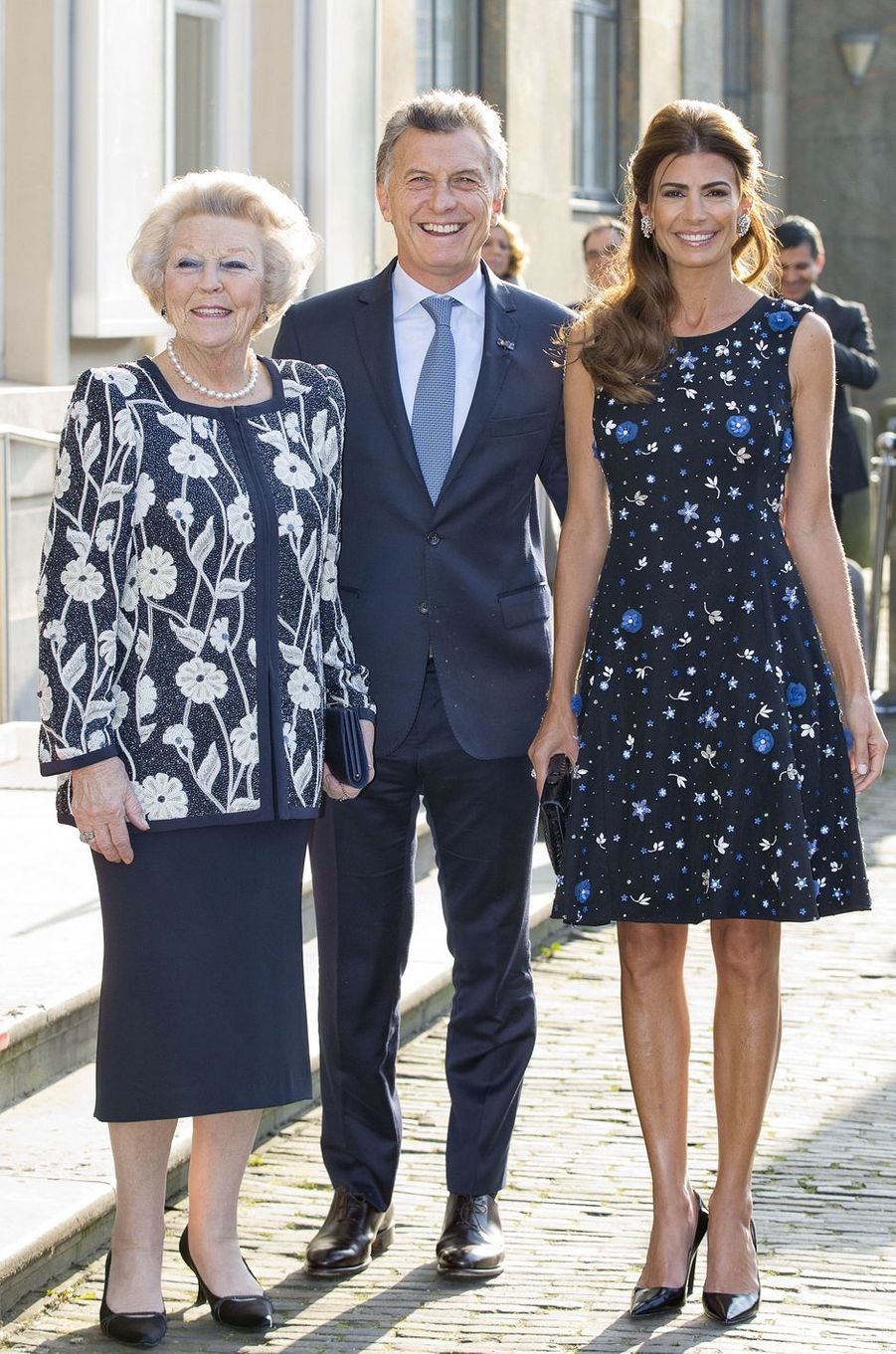 La princesse Beatrix des Pays-Bas avec le couple présidentiel argentin à La Haye, le 28 mars 2017