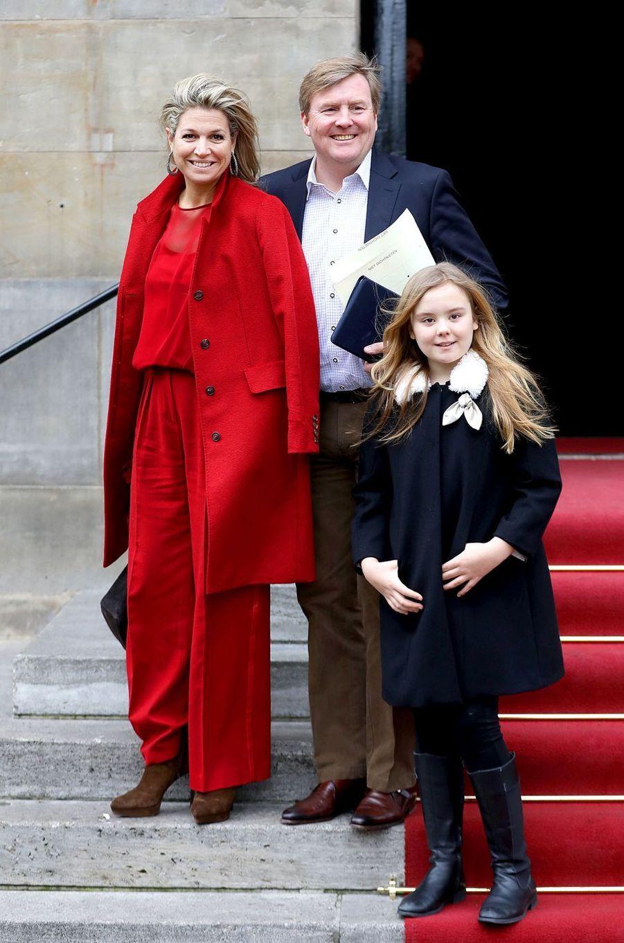 La reine Maxima et le roi Willem-Alexander des Pays-Bas et la princesse Ariane à Amsterdam, le 4 février 2018