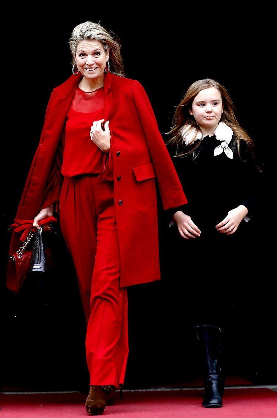 La reine Maxima des Pays-Bas et la princesse Ariane à Amsterdam, le 4 février 2018