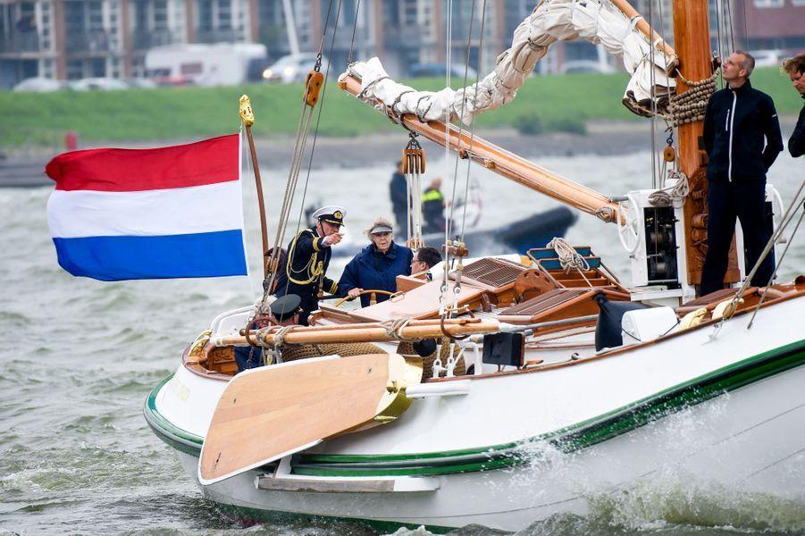 L'ex-reine Beatrix des Pays-Bas sur son bateau à Lelystad, le 14 juin 2018