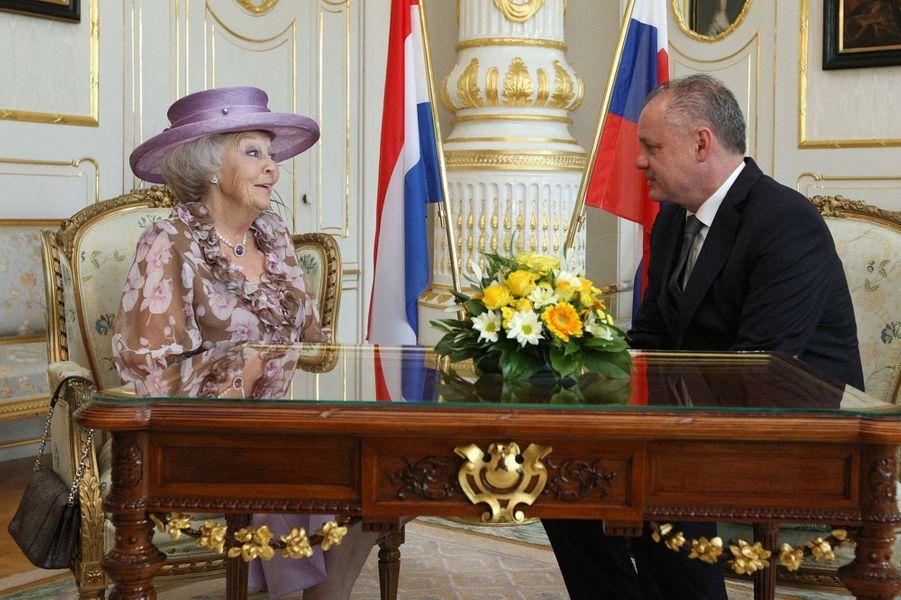 La princesse Beatrix des Pays-Bas avec Andrej Kiska à Bratislava, le 30 juin 2016