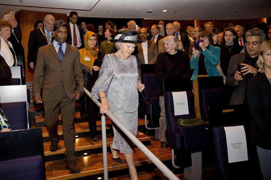 L'ex-reine Beatrix des Pays-Bas à un symposium interreligieux à Utrecht, le 22 janvier 2018