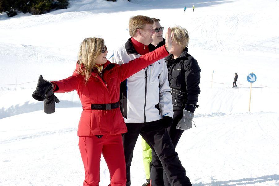La reine Maxima et le roi Willem-Alexander des Pays-Bas à Lech, le 22 février 2016