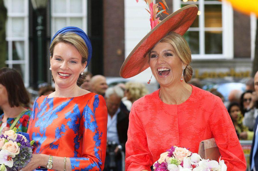 La reine Mathilde de Belgique et la reine Maxima des Pays-Bas à La Haye, le 20 mai 2015