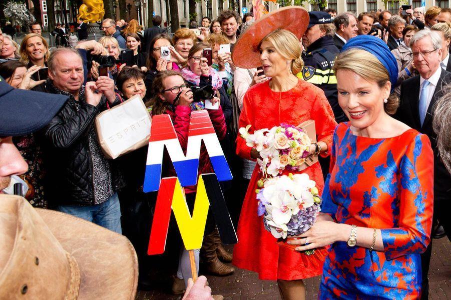 La reine Maxima des Pays-Bas et la reine Mathilde de Belgique à La Haye, le 20 mai 2015