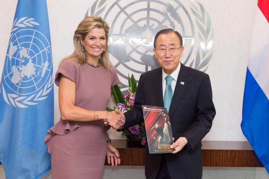 La reine Maxima des Pays-Bas avec Ban Ki-moon à New York, le 20 septembre 2015