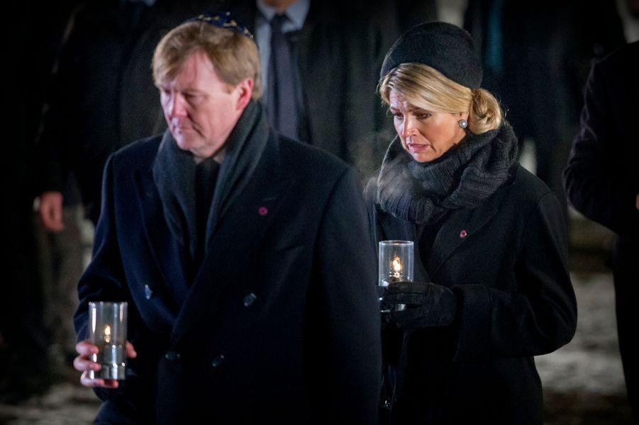 La reine Maxima des Pays-Bas avec le roi Willem-Alexander à Auschwitz-Birkenau, le 17 janvier 2015