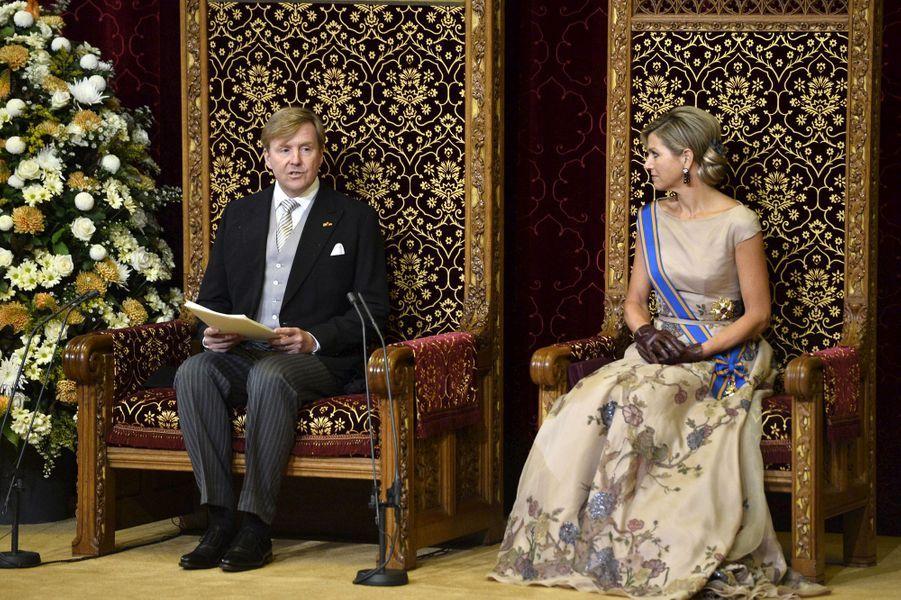 La reine Maxima des Pays-Bas avec le roi Willem-Alexander lors du Jour du prince à La Haye, le 15 septembre 2015