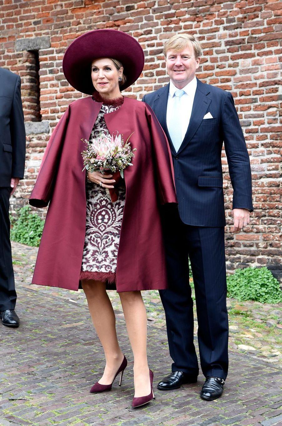 La reine Maxima et son époux le roi Willem-Alexander des Pays-Bas dans la région de l'Eemland, le 24 octobre 2017