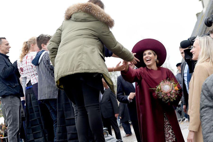 La reine Maxima des Pays-Bas dans la région de l'Eemland, le 24 octobre 2017
