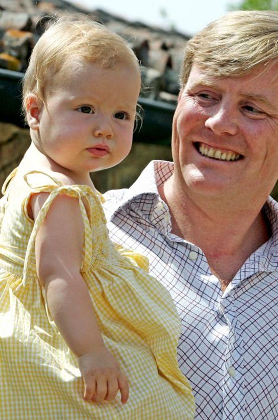 La princesse Alexia avec son père Willem-Alexnader, le 6 février 2006